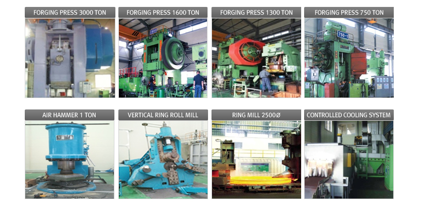 FORGING PRESS가 3000~750 TON, CONTROLLED COOLING SYSTEM, BILLET SHEAR, RING MILL 2500Ø